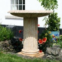 Natural Stone Hand Carved Birdbath