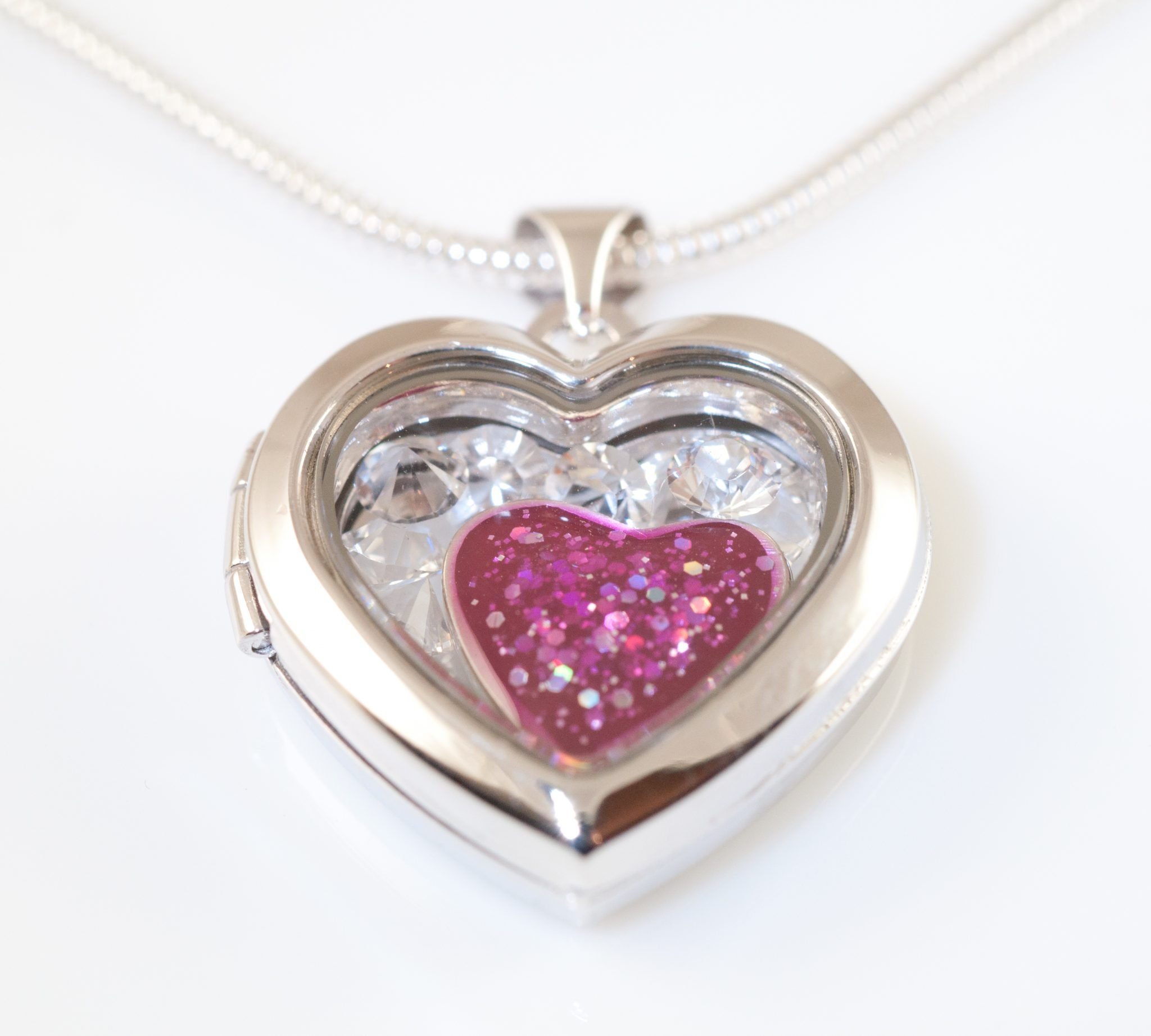 Silver Memory Heart Locket Pink Front