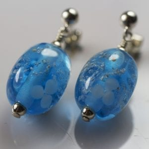 Aqua Flower Bead Earrings